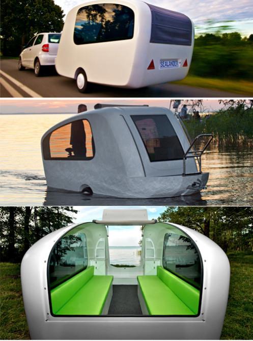 Husvagn och båt på en och samma gång.